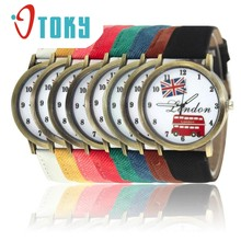 Relogio Feminino OTOKY Willby Retro London Bus Flag Watch Leather Round Quartz Wrist Watches 161222 Drop Shipping(China)