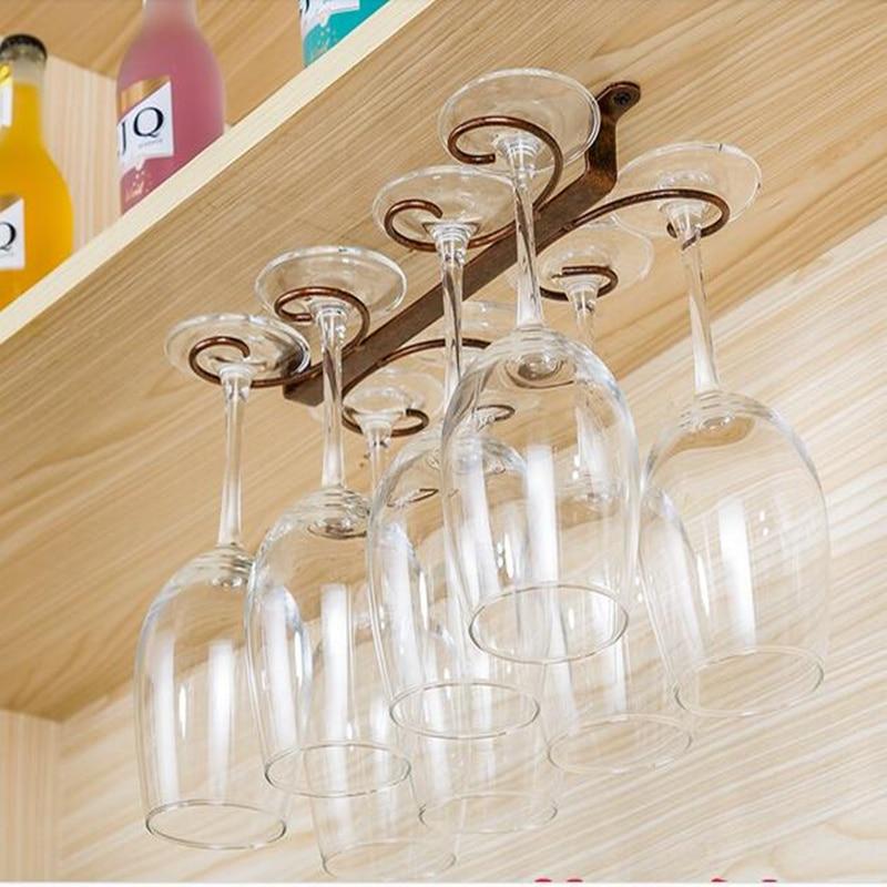 6 Hooks Cup Holder Hang Kitchen Cabinet Under Shelf: 4 12 Wine Glass Rack Hanging Under Cabinet Wine Cup Holder
