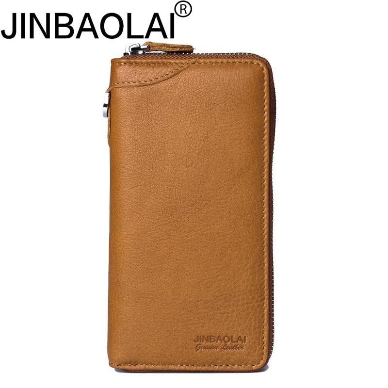 Zipper Handy Portfolio Genuine Leather Magic Men Wallet Card Holder Purse Long Male Clutch Bags Phone Money Walet