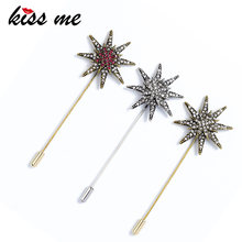 Kiss Me 2018 Berlian Imitasi Bintang Bros untuk Wanita Emas & Perak Warna Alloy Fashion Lapel Pin Fashion Aksesoris(China)