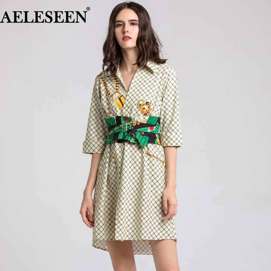 AELESEEN Designer Plaid Dress 2019 New Summer Half Sleeve Bandage Flower Print Dress Belt Asymmetrical Runway