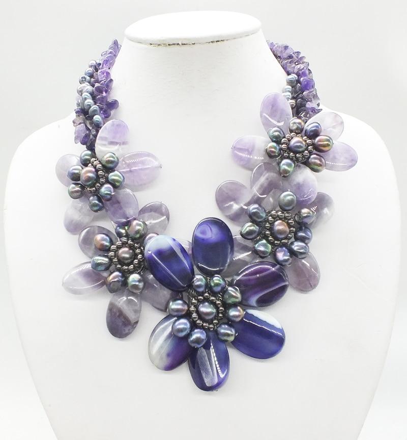 "NO -2018-11-28-1130#  Natural Brazilian semi-precious stones, crystal flower necklace, very classic, last one  19"""