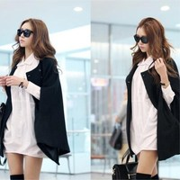 2018 Autumn & Winter New Design Cloak High Quality Fashion Coat Black Slim Casual Jacket Bat Sleeved Cloaks For Women Mantle