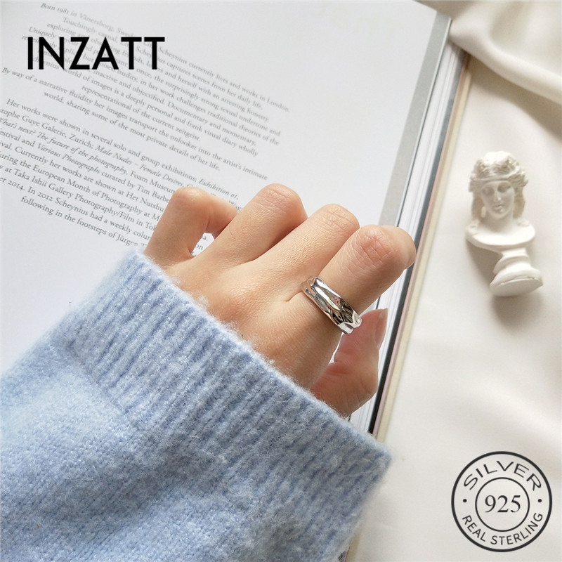 INZATT Minimalist Geometric Real 925 Sterling Silver Openwork Ring For Women Birthday Party Classic Fashion Jewelry Accessories