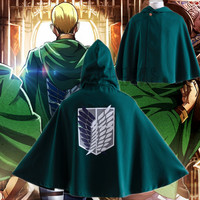 Athemis Attack on Titan cloak for Eren Levil Mikasa Ackerman high quality blackish green color