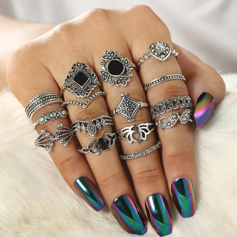 15pcs/Set Bohemian Vintage Women Mid Ring Set Flower Crown Rhinestone Joint Knuckle Nail for Jewelry Gift