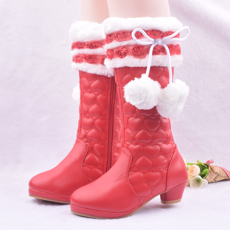 2017 Winter New Kids Girls Snow Boots Leather High Heel Plush Warm Boots Children Party Princess Shoes Cotton-padded High Boots uovo baby girls snow boots 2017 new faux fur plush kids high boots glitters children shoes soft sole winter boots for toddlers