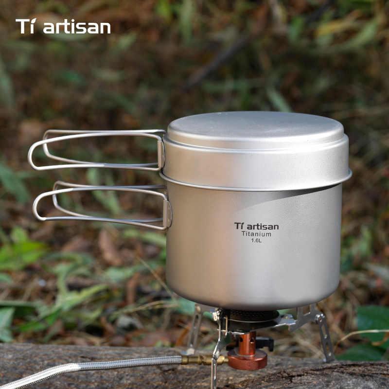 Tiartisan 純粋な titanium1.6L ポットセット折りたたみポータブル調理鍋と多機能屋外のキャンプ調理器具 Ta8318TI