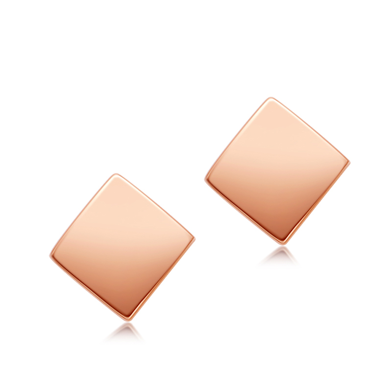 цены на Pure AU750 Rose Gold Earrings Women Square Stud Earrings  в интернет-магазинах