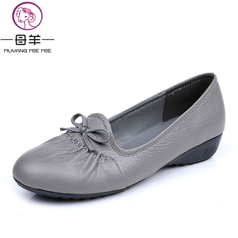 MUYANG MIE MIE Genuine Leather Flat Shoes Woman Loafers Female Solid Comfortable Casual Women Shoes Women Flats muyang mie mie genuine leather women shoes woman casual flower single flat shoes soft comfortable women flats