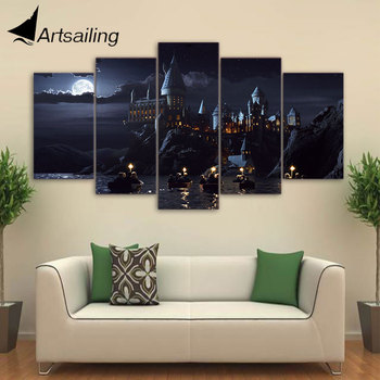 HD Printed 5 piece canvas Harry Potter School Castle Hogwarts Painting room decor posters and prints art Free shipping/ny-6267 no frame canvas