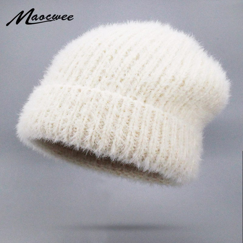 New Simple Rabbit Fur Beanie Hat For Women Winter Hat Skullies Warm Gravity Falls Cap Gorros Female Wool Knitted Cap Beanies