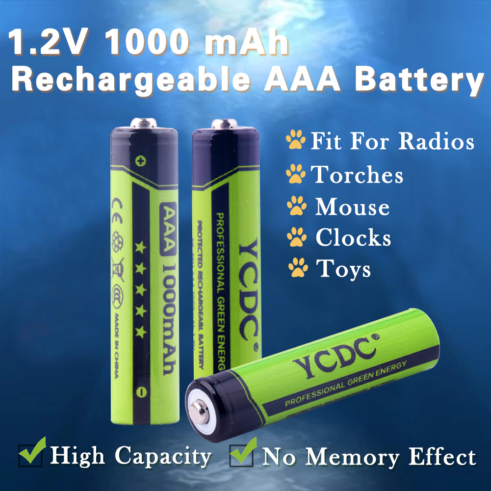 4 20pcs YCDC 1 2V AAA Ni Mh 1000mAh Rechargeable Batteries High Capacity Pre charged Batteries
