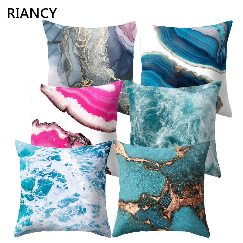 Ocean Marble Geometric Sofa Decorative Cushion Cover Pillow Pillowcase Polyester 45*45 Throw Pillow Home Decor Pillowcover 40507
