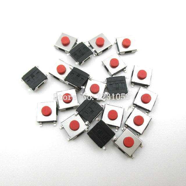 100PCS/LOT 6*6*3.1 mm SMD Switch 4 Pin Touch Micro Switch Push Button Switches Red SMD Tact Switch