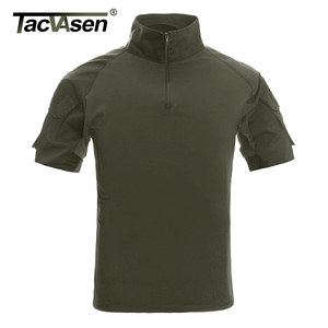 Image 2 - TACVASEN Mens הסוואה טקטי T חולצות קיץ קצר שרוול Airsoft צבא Combat חולצות ביצועים חולצות צבאי בגדים