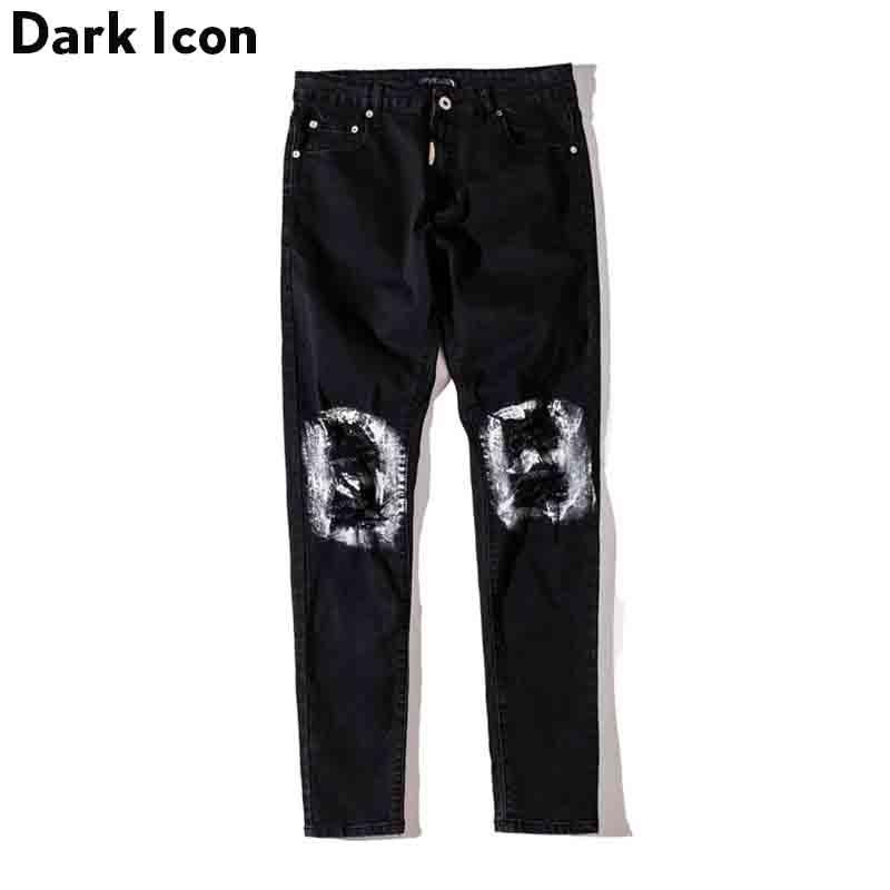 Ripped on Knee Denim Pants Men Coated on the Hole Slim Fit Mens Jeans Full Length Black White
