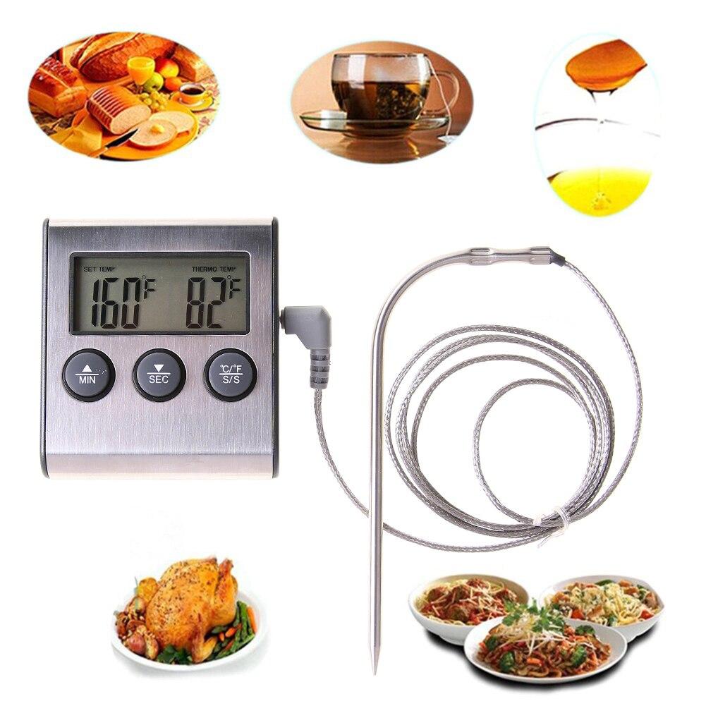 Cocina LCD Digital que cocina la carne del alimento del termómetro para la parrilla fumador horno Timer RELOJ CON SONDA DE ACERO INOXIDABLE termómetro