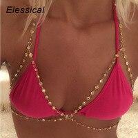 Minimalist Style Bra Chain Full Rhinestones Paved Bikini Body Chain Sexy Summer Body Jewelry Accessories 2017