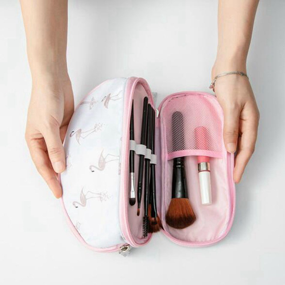 Double Layer Flamingo Cosmetic Bag Women Make Up Bag Travel High Capacity Makeup Bag Toiletry Kits Necessaire Functional Bag