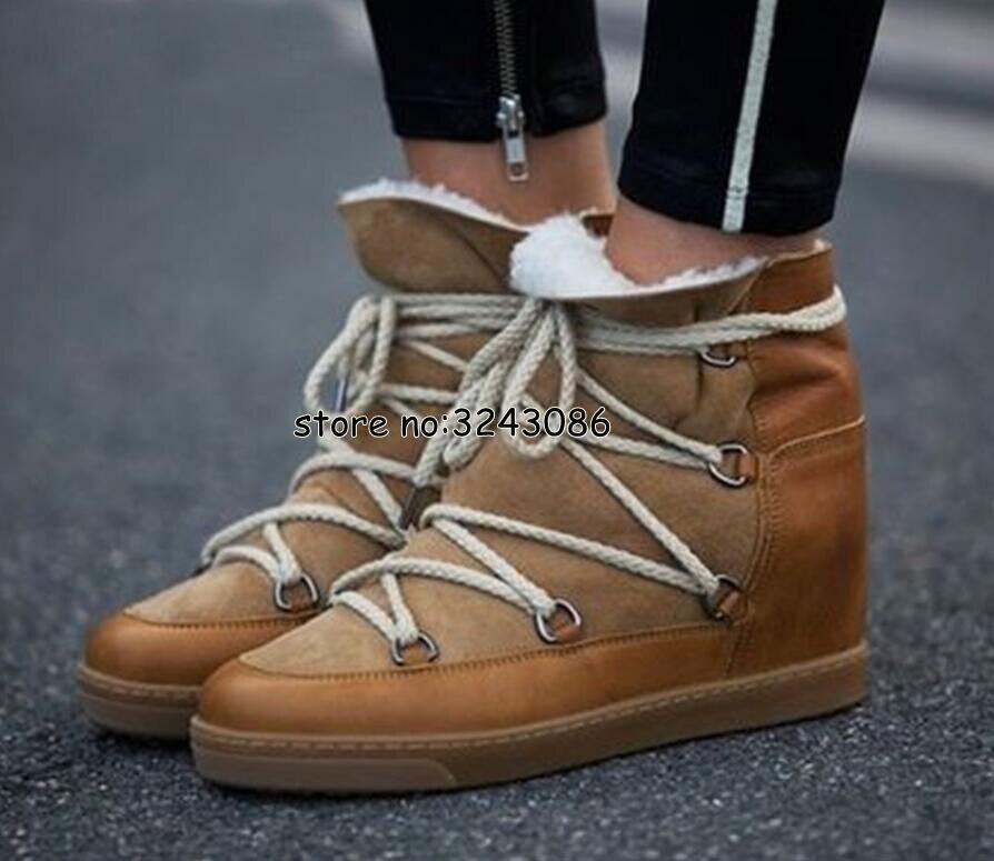Hiver chaud fourrure peau de mouton doublé cuir bottes compensées cheville neige bottes deux lacets talon 8cm femmes chaussures chaussures décontractées livraison directe