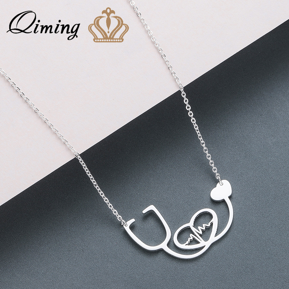 QIMING Echometer Love Heartbeat Women Necklace Trendy Stainless Steel Jewelry Doctor Nurse Gift Medical Bijoux Femme Necklaces(Hong Kong,China)