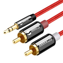 Jack 3.5 mm to 2 RCA Audio Cable AUX Splitter 3.5mm Stereo Male to Male 2 RCA Adapter Speaker Cable 0.5m 1m 2m 3m 5m(China)