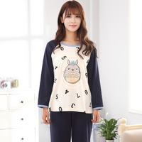 2019 New Cotton Women's Pajamas Totoro Printing Full Length Sleepwear for women Plus Size XXL XXXL