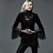 Punk Gothic Women's Elastic Short Black Jacket Coat Deep V Neck Lace Jackets Flare Long Sleeve Party Jacket