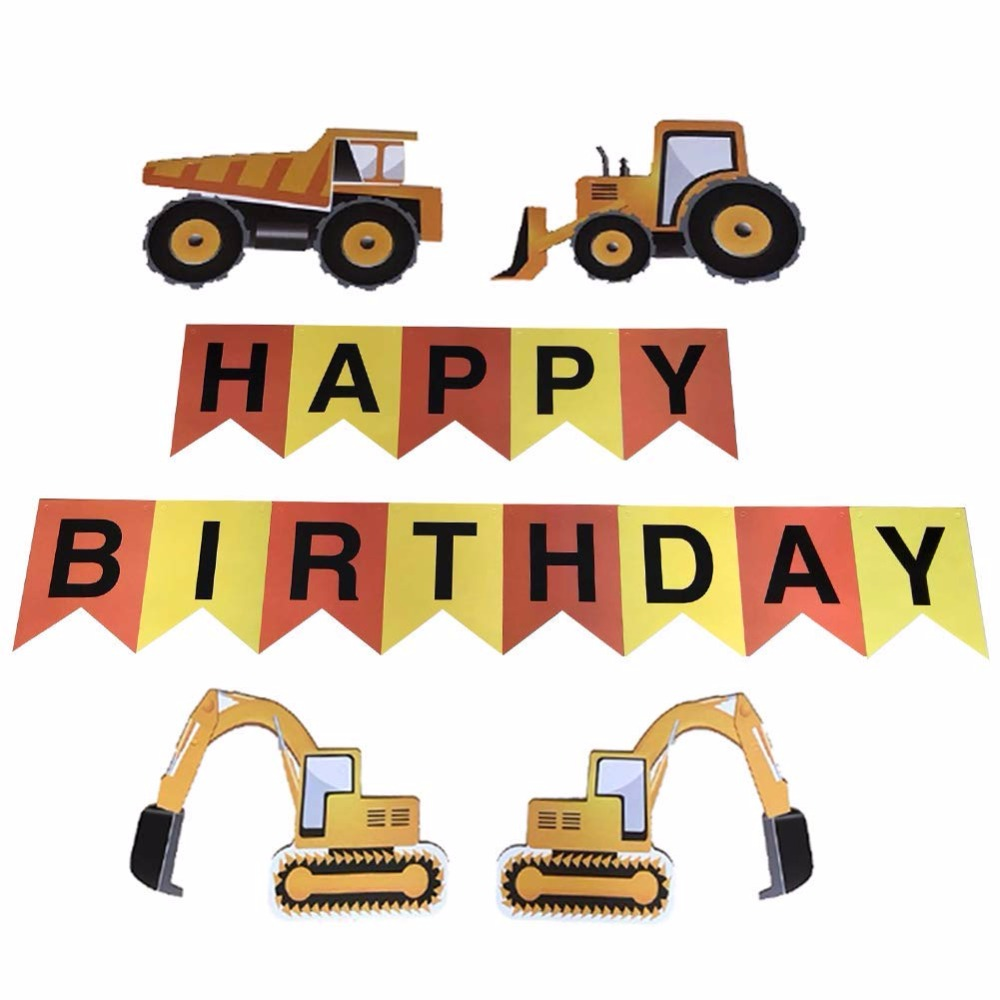 Construction Vehicle Happy Birthday Banner Excavator Bulldozer Truck Paper String Flags Bunting For Kids Party Decor In Banners