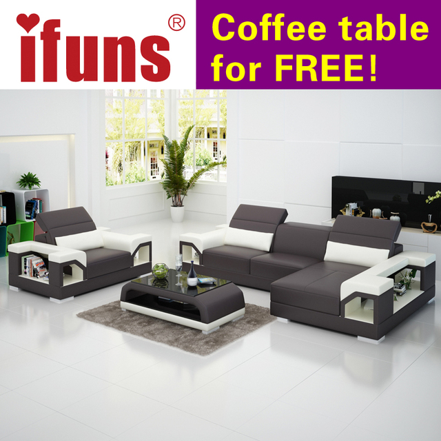 Ifuns Modern Design Genuine Leather Sectional Sofa Set Cow Italian Living Room