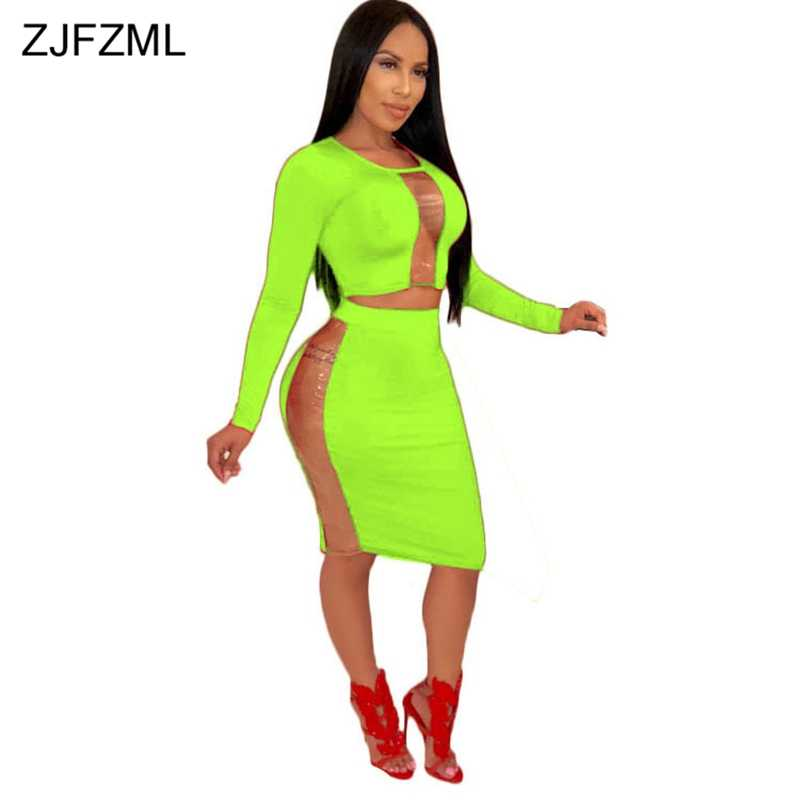 df5f0a4f9755 Plus Size Sexy 2 Two Piece Set Dress Women Clothes Long Sleeve Transparent Crop  Top+