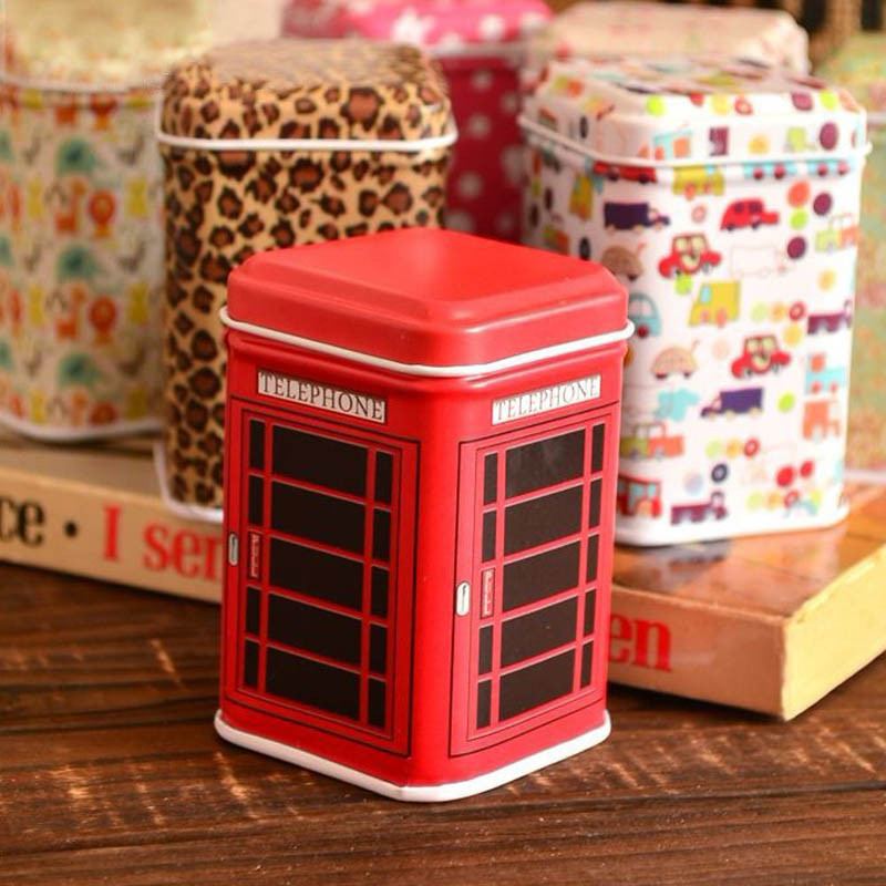 Metal Candy Telephone Booth Cans Storage Box Trinket Tin Jewelry Iron Tea Coin Storage