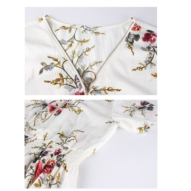 Boho Floral Printed Chiffon Blouse