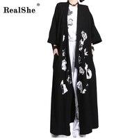 RealShe 2017 Feminine Kimono Cloak Sleeve Print Japanese Style Long Trench Coats Spring Women S Windbreaker