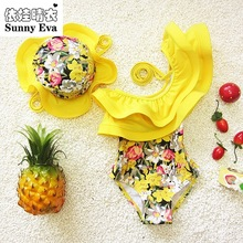 sunny eva one piece swimsuit floral swimming suit for kids children girl bathing suits clothes kids swimwear with swimming cap
