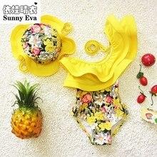 Soleado eva de una pieza del traje de baño floral traje de baño para niños muchacha de los niños trajes de baño ropa de niños traje de baño con gorro de baño