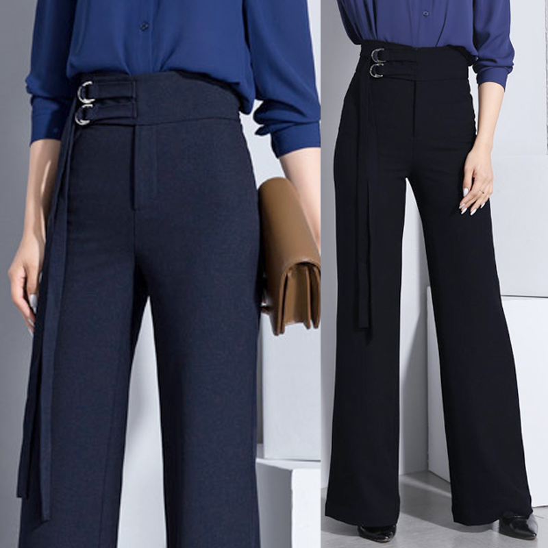 Fashion Stylish Summer Spring Womens High Waisted Wide Leg Navy Black Trousers  XXL 3xl Woman ...