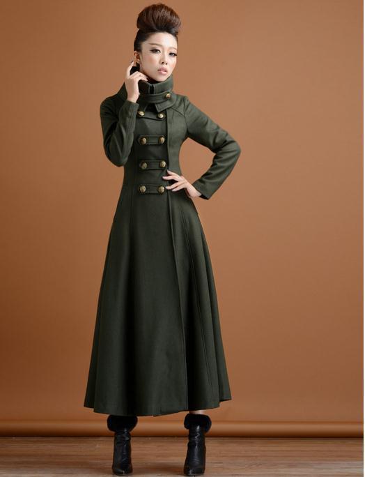 nouveau concept 4e408 7be46 € 51.79 15% de réduction|Hiver femmes double boutonnage laine pardessus  ultra long manteau paragraphe survêtement mince élégant vent militaire-in  ...