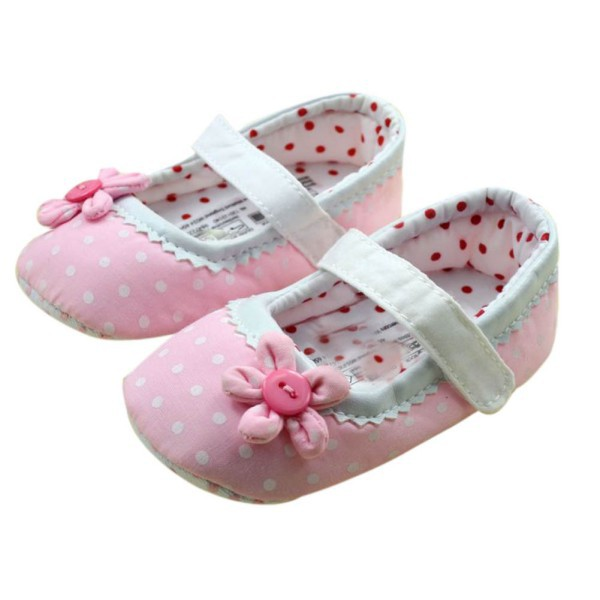 Lovely Girl Baby Polka Dot Flower Crib Shoes Infant Cozy Soft Sole Toddler Shoes