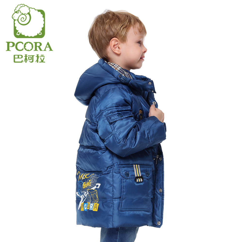 PCORA Boy Winter Down Coat Long Kids Boy Parka Coat Hooded Blue Teenagers Male Child Clothes Keep Warm Khaki Jackets for Boys