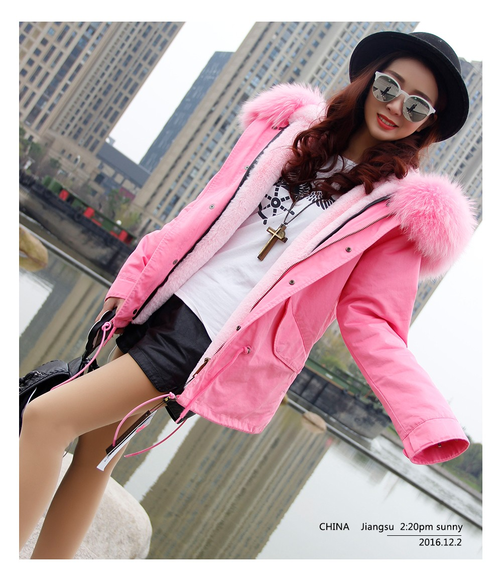 Women Winter Pink Jacket Coats Thick Parkas Plus Size Real Raccoon Fur Collar Hooded Outwear