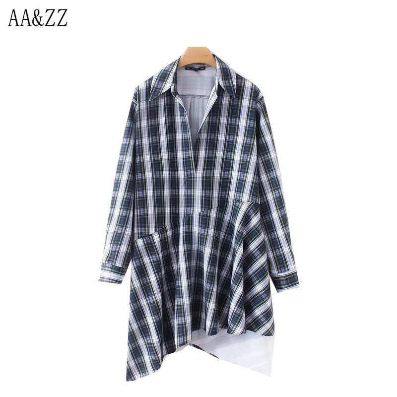 AA & ZZ Осенняя Женская Асимметричная клетчатая блузка с отложным воротником и