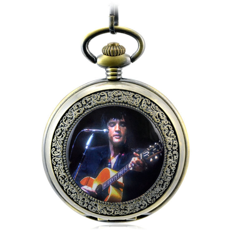 Elvis Presley Antique Skeleton Mechanical Hand Wind Pocket Fob Watches Mens Watch Pendan ...