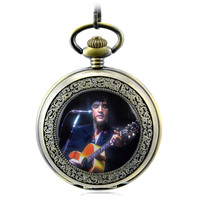 Elvis Presley Antique Skeleton Mechanical Hand Wind Pocket Fob Watches Mens Watch Pendant Necklace Gift Classical Souvenir Gift