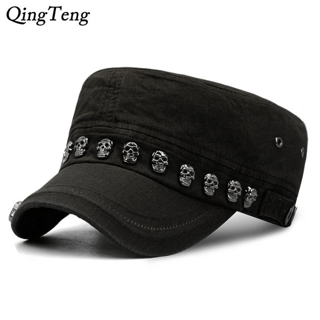 0584290465c Hip Hop Skull Flat Hats Punk Rivet Ring Men Army Hat Cool Woman Casual  Baseball Cap Brand Fitted Hats 2018 New Year S Gift