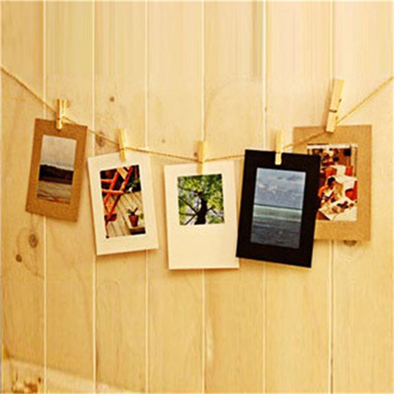10Pcs Cute Paper Photo Frame Wall Picture Album Hanging Rope Camp ...