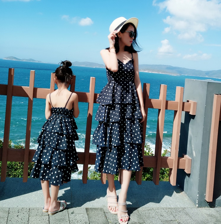 Mother Daughter Tank Ruffle Dresses Family Look Mommy And Me Matching Outfit Clothes Mom Mum And Daughter Chiffon Dress Clothing
