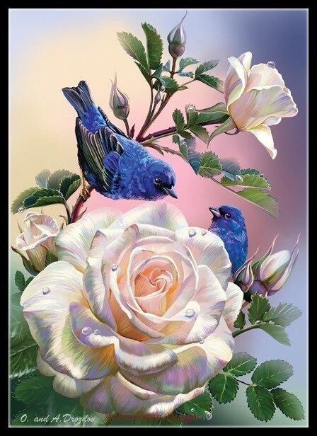 Kits de punto de cruz con cuentas bordadas, costura manualidades 14 ct DMC DIY art Color decoración hecha a mano Rosas y Pájaros Azules