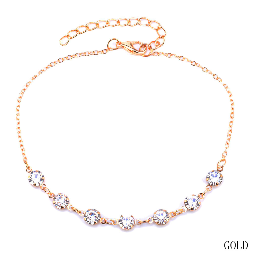 Vintage Fashion Crystal Anklets For Women Stainless Steel Shoe Boot Chain Bracelet Foot Jewelry